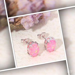 Jewelry - Light Pink Oval Fire Opal Earrings